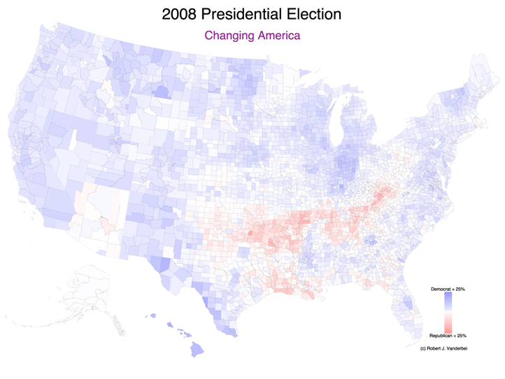 Purple America Map.2008 Presidential Election Results