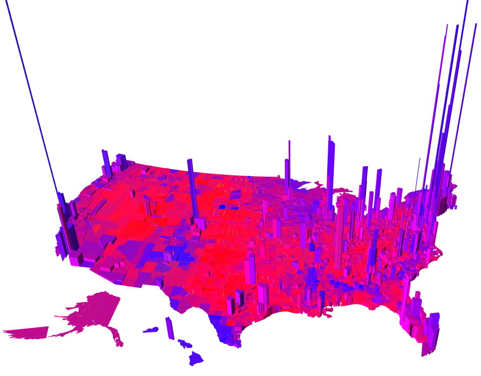 Purple America Map.2012 Presidential Election Results